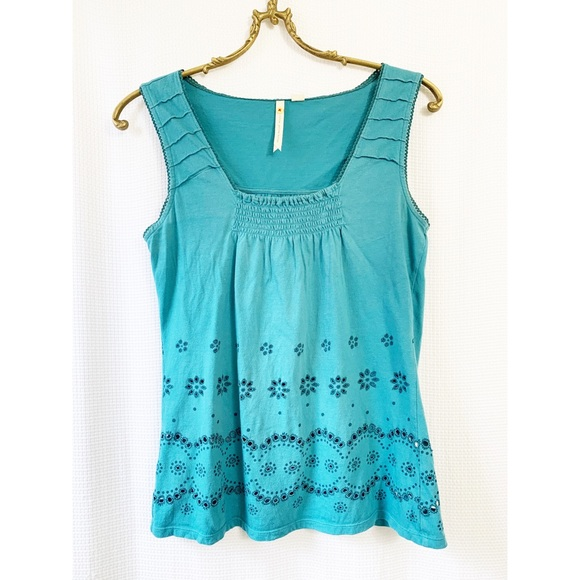 🌸2/$30 Anthropologie teal square neck tank top